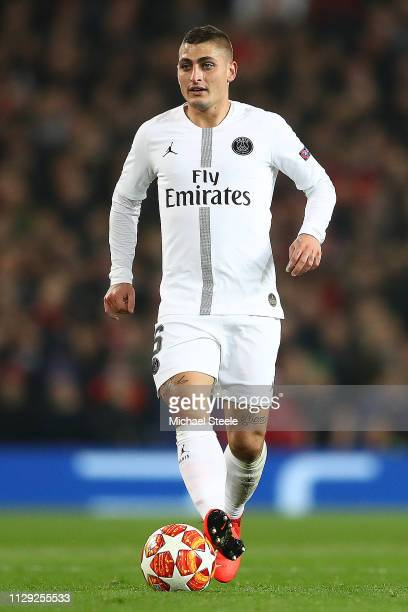 Marco Verratti of Paris SaintGermain during the UEFA Champions League Round of 16 First Leg match between Manchester United and Paris SaintGermain at...