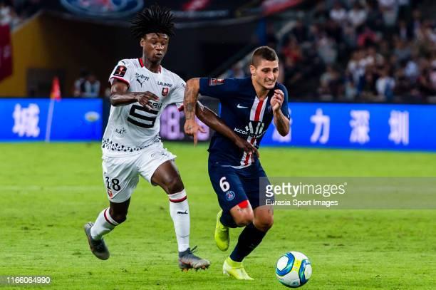 Marco Verratti of Paris SaintGermain fights for the ball with Eduardo Camavinga of Rennes during the 2019 Trophee des Champions between Paris...