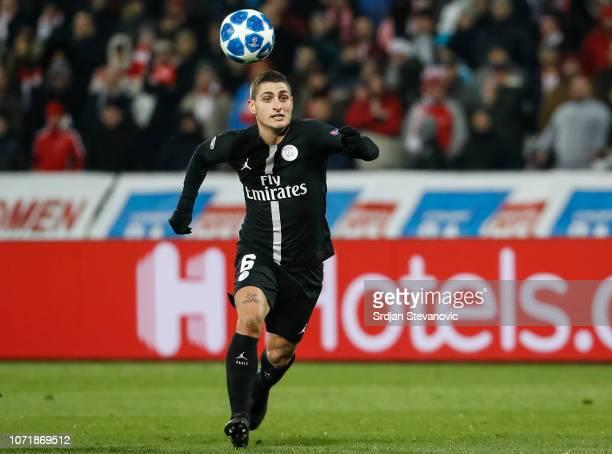 Marco Verratti of Paris SaintGermain in action during the UEFA Champions League Group C match between Red Star Belgrade and Paris SaintGermain at...