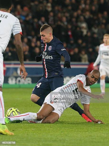 Marco Verratti of Paris SaintGermain in action with Gelson Fernandes of Stade Rennais FC during the French Ligue 1 between Paris SaintGermain FC and...