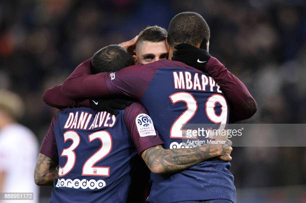 Marco Verratti of Paris SaintGermain is congratulated by teammates after Javier Pastore's goal during the Ligue 1 match between Paris Saint Germain...