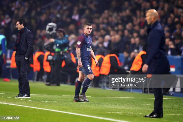 Marco Verratti of Paris SaintGermain leaves the field after being sent off during the UEFA Champions League Round of 16 Second Leg match between...