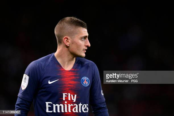Marco Verratti of Paris SaintGermain looks on during the Ligue 1 match between Paris SaintGermain and RC Strasbourg at Parc des Princes on April 07...