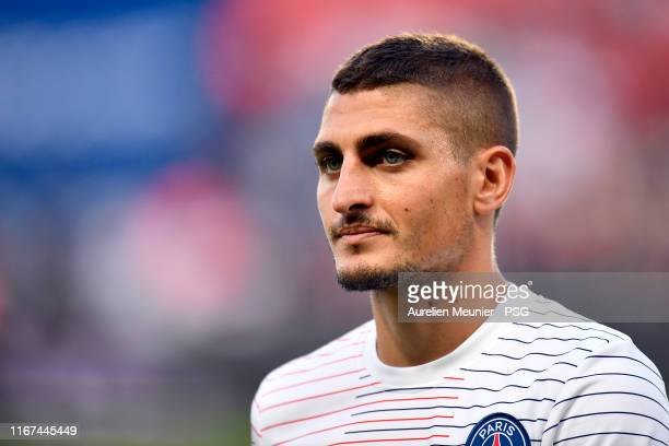 Marco Verratti of Paris Saint-Germain looks on during warmup before the Ligue 1 match between Paris Saint-Germain and Nimes Olympique at Parc des...