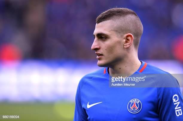 Marco Verratti of Paris SaintGermain reacts during warmup before the Ligue 1 match between Paris Saint Germain and Metz at Parc des Princes on March...