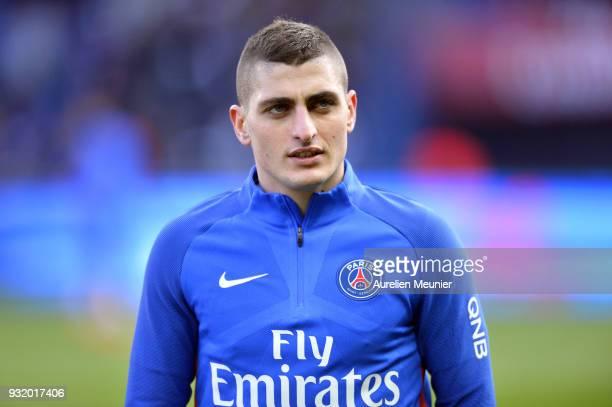 Marco Verratti of Paris SaintGermain reacts during warmup before the Ligue 1 match between Paris Saint Germain and Angers SCO at Parc des Princes on...