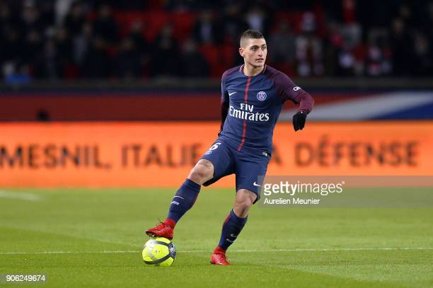 Marco Verratti of Paris SaintGermain runs with the ball during the Ligue 1 match between Paris Saint Germain and Dijon FCO at Parc des Princes on...