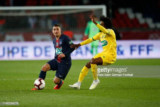 Marco Verratti of Paris SaintGermain runs with the ball during the Coupe de France semi final match between Paris SaintGermain and FC Nantes at Parc...