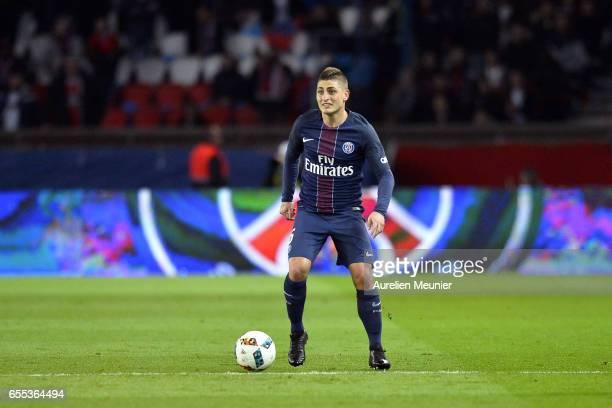 Marco Verratti of Paris SaintGermain runs with the ball during the French Ligue 1 match between Paris Saint Germain and Lyon at Parc des Princes on...