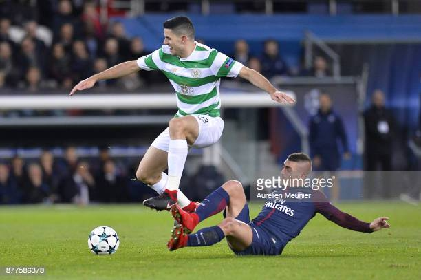 Marco Verratti of Paris SaintGermain tackles Tom Rogic of Celtic Glasgow during warmup before the UEFA Champions League group B match between Paris...