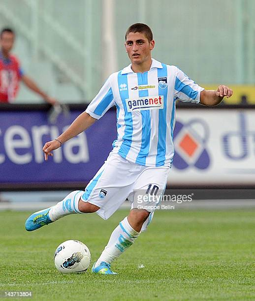 Marco Verratti of Pescara in action during the Serie B match between Pescara Calcio and Vicenza Calcio at Adriatico Stadium on May 1 2012 in Pescara...