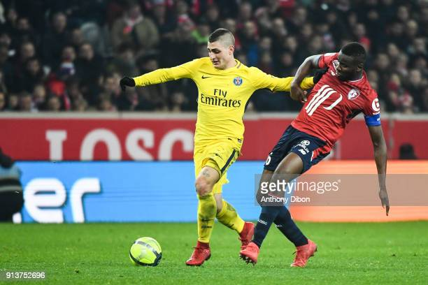 Marco Verratti of PSG and Ibrahim Amadou of Lille during the Ligue 1 match between Lille OSC and Paris Saint Germain PSG at Stade Pierre Mauroy on...