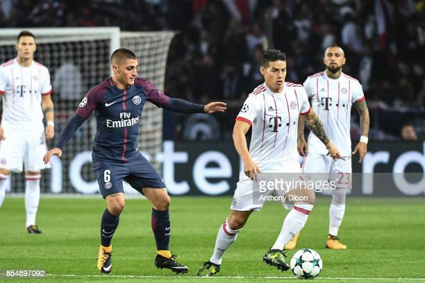Marco Verratti of PSG and James Rodriguez during the Uefa Champions League match between Paris Saint Germain and Fc Bayern Muenchen on September 27...