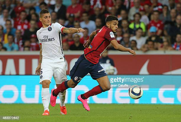 Marco Verratti of PSG and Sofiane Boufal of Lille in action during the French Ligue 1 match between Lille OSC and Paris SaintGermain at Grand Stade...