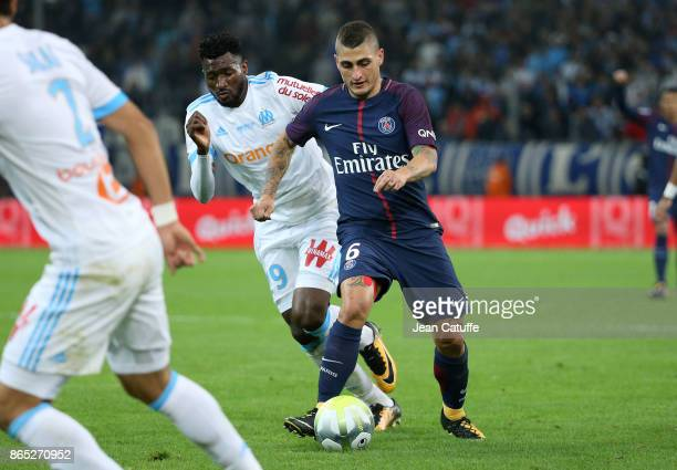 Marco Verratti of PSG Andre Zambo Anguissa of OM during the French Ligue 1 match between Olympique de Marseille and Paris Saint Germain at Stade...