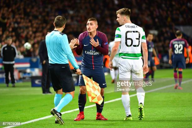 Marco Verratti of PSG argues with the assistant referee after he is penalised for a foul on Kieran Tierney of Celtic during the UEFA Champions League...