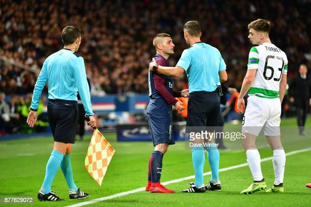 Marco Verratti of PSG argues with the referee after he is penalised for a foul on Kieran Tierney of Celtic during the UEFA Champions League match...