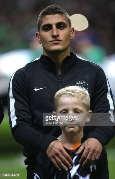 Marco Verratti of PSG before the UEFA Champions League match between Celtic Glasgow and Paris Saint Germain at Celtic Park on September 12 2017 in...