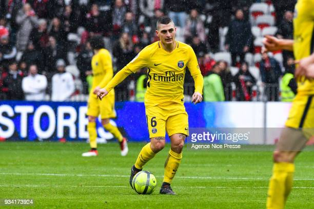 Marco Verratti of PSG during the Ligue 1 match between OGC Nice and Paris Saint Germain at Allianz Riviera on March 18 2018 in Nice