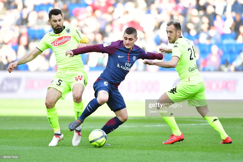 Marco Verratti of PSG during the Ligue 1 match between Paris Saint Germain (PSG) and Angers SCO on March 14, 2018 in Paris, France.