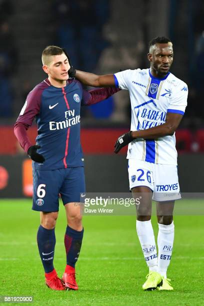 Marco Verratti of PSG fights with Adama Niane of Troyes during the Ligue 1 match between Paris Saint Germain and Troyes Estac at Parc des Princes on...