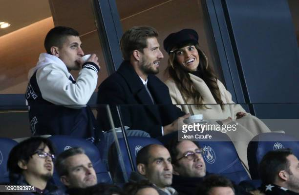 Marco Verratti of PSG former goalkeeper of PSG now at Eintracht Frankfurt Kevin Trapp and his girlfriend brazilian model Izabel Goulart attend the...