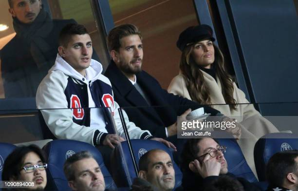 Marco Verratti of PSG, former goalkeeper of PSG now at Eintracht Frankfurt Kevin Trapp and his girlfriend, brazilian model Izabel Goulart attend the...
