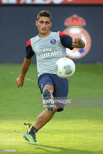 Marco Verratti of PSG in action during a training session on the eve of the friendly match between Paris SaintGermain and Real Madrid at the old...