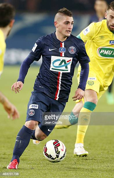 Marco Verratti of PSG in action during the French Cup match between Paris SaintGermain FC and FC Nantes at Parc des Princes stadium on February 11...