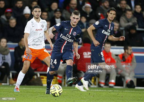 Marco Verratti of PSG in action during the French Ligue 1 match between Paris SaintGermain FC and Montpellier Herault SC at Parc des Princes stadium...