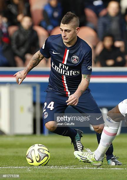 Marco Verratti of PSG in action during the French Ligue 1 match between Paris SaintGermain FC and Evian Thonon Gaillard FC at Parc des Princes...