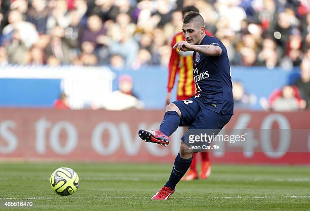 Marco Verratti of PSG in action during the French Ligue 1 match between Paris SaintGermain FC and RC Lens at Parc des Princes stadium on March 7 2015...