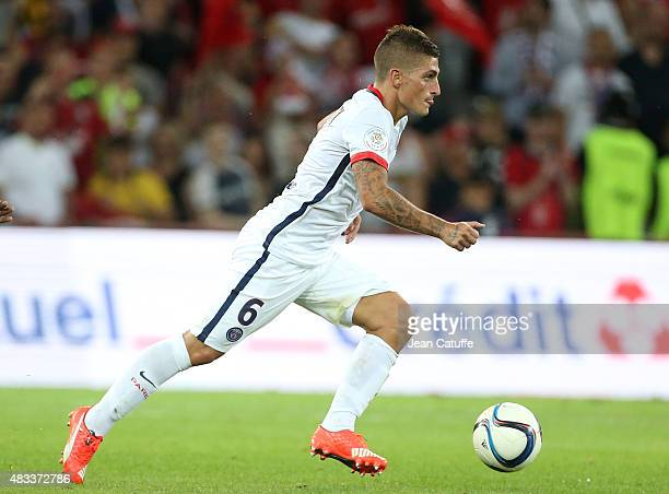 Marco Verratti of PSG in action during the French Ligue 1 match between Lille OSC and Paris SaintGermain at Grand Stade Pierre Mauroy on August 7...