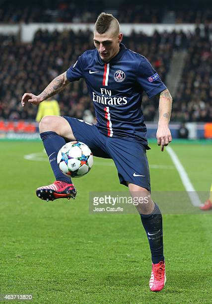 Marco Verratti of PSG in action during the UEFA Champions League round of 16 match between Paris SaintGermain FC and Chelsea FC at Parc des Princes...