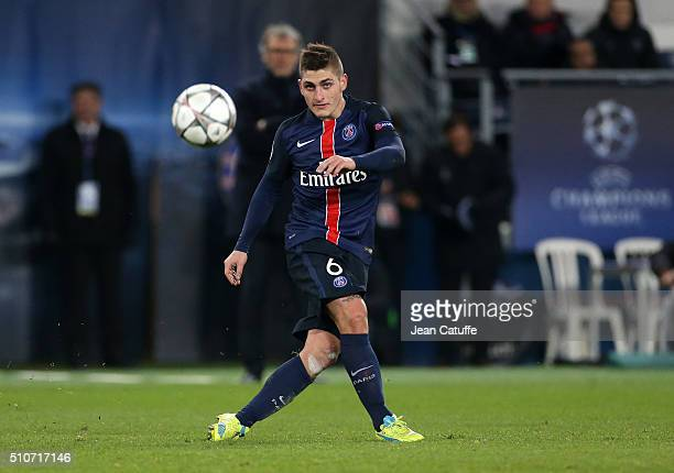 Marco Verratti of PSG in action during the UEFA Champions League round of 16 first leg match between Paris SaintGermain and Chelsea FC at Parc des...
