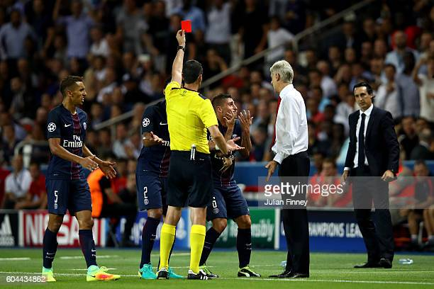 Marco Verratti of PSG is shown a red card during the UEFA Champions League Group A match between Paris SaintGermain and Arsenal FC at Parc des...
