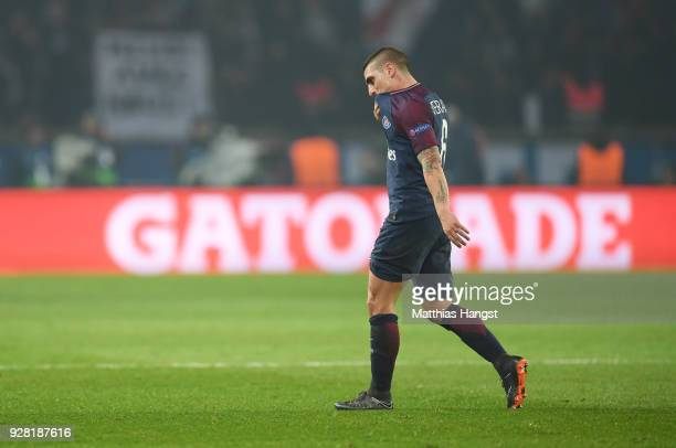 Marco Verratti of PSG looks dejected as he is sent off during the UEFA Champions League Round of 16 Second Leg match between Paris SaintGermain and...
