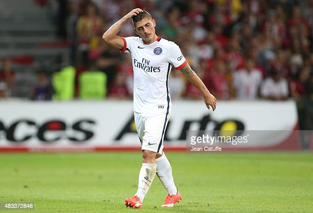 Marco Verratti of PSG looks on during the French Ligue 1 match between Lille OSC and Paris SaintGermain at Grand Stade Pierre Mauroy on August 7 2015...