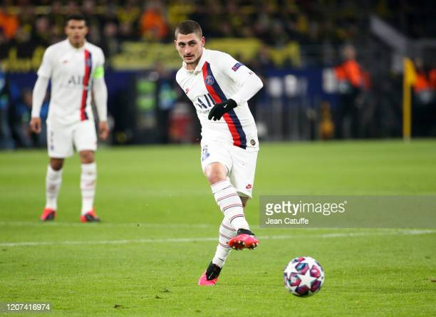 Marco Verratti of PSG passes the ball during the UEFA Champions League round of 16 first leg match between Borussia Dortmund and Paris SaintGermain...