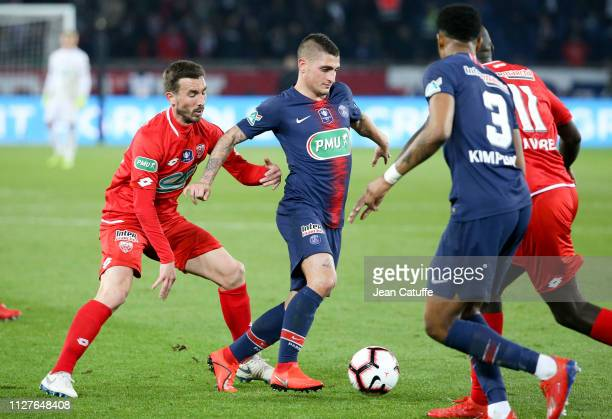 Marco Verratti of PSG, Romain Amalfitano of Dijon during the French Cup quarter-final match between Paris Saint-Germain and Dijon Football Cote-d'Or...