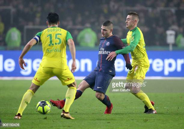 Marco Verratti of PSG Valentin Rongier of FC Nantes during the French Ligue 1 match between FC Nantes and Paris Saint Germain at Stade de la...