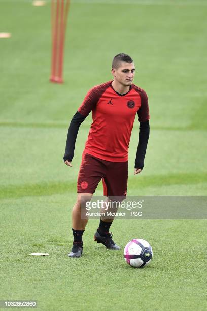 Marco Verratti wams up during a Paris SaintGermain training session at Centre Ooredoo on September 13 2018 in Paris France
