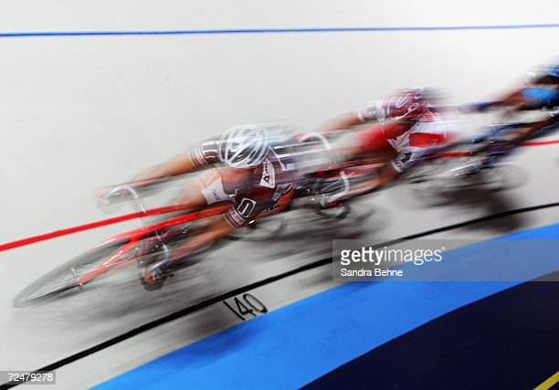 Marco Villa of Italy and Robert Bartko of Germany compete during the 43rd Six Day Race at the Olympic Hall on November 9 2006 in Munich Germany
