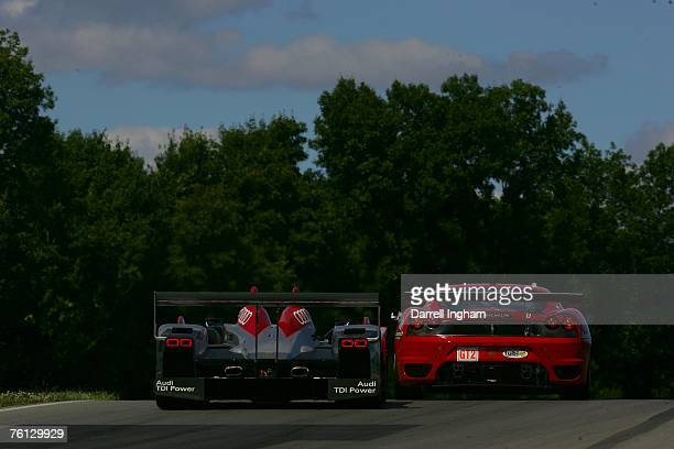 Marco Werner drives the Audi Sport North America Audi R10 tdi follow the Risi Competizione Ferrari 430GT driven by Eric Helary and Gianmaria Bruni...