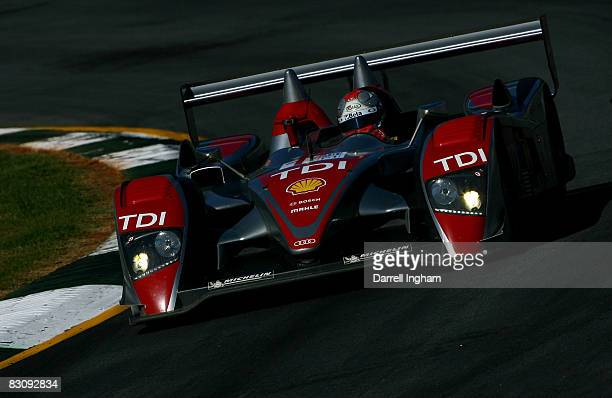 Marco Werner drives the LMP1Audi Sport North America Audi R10TDI during practice for the American Le Mans Series Petit Le Mans on October 2, 2008 at...