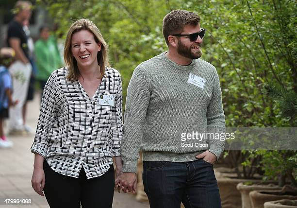 Marco Zappacosta, founder of Thumbtack, walks with Kat Doyle at the Allen & Company Sun Valley Conference on July 8, 2015 in Sun Valley, Idaho. Many...