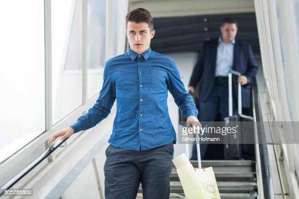 MarcOliver Kempf departs a Lufthansa plane carrying the Germany U21 National Team at Frankfurt International Airport on July 1 2017 in Frankfurt am...