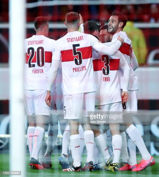 Marc-Oliver Kempf of Stuttgart celebrates his team's first goal with team mates during the Second Bundesliga match between VfB Stuttgart and 1. FC...