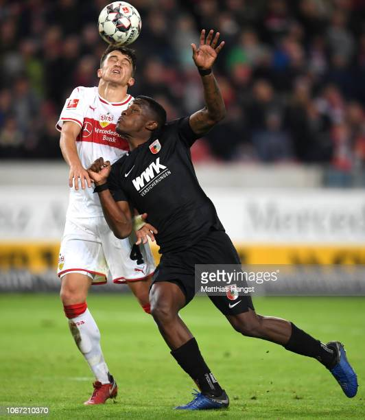 MarcOliver Kempf of VfB Stuttgart battles for possession with Sergio Cordova of Augsburg during the Bundesliga match between VfB Stuttgart and FC...
