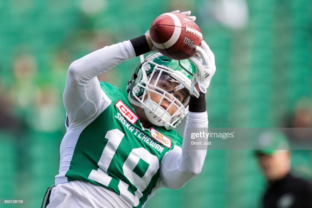 Marc-Olivier Brouillette #19 of the Saskatchewan Roughriders during pregame warmup for the game between the Calgary Stampeders and Saskatchewan Roughriders at Mosaic Stadium on September 24, 2017 in Regina, Canada.